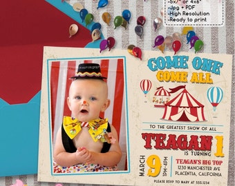 Vintage Circus Carnival Birthday Party Photo  invitations DIY Circus printable invite