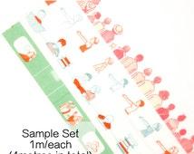 Eri x Goat Masco Washi Tape Sample Set B [Artist Washi] // Drawing Children Train Travel People Book Masking Tape Sampler Washi Samples.. //