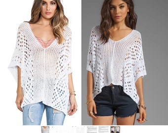 Crochet top PATTERN for sizes S-XL, detailed instructions in English for every row, designer crochet top PATTERN, beach boho crochet top pdf