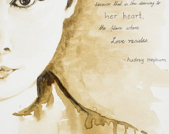Audrey Hepburn - Coffee painting - Art Print