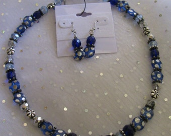 SALE !!!! Electric Blue with Silver Dots and Faceted Crystal Necklace and Earrings Set