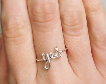 Yes Ring, Yes silver ring, Sterling silver ring, Silver ring, Word ring, Yes wire ring, Wire ring, Bridesmaids ring, Gift