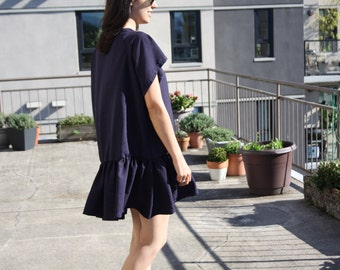 Lauren Dress- Oversized T-Shirt Dress with Drop-Waist Peplum  (White, Black, Navy and Pink)