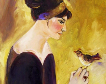 Oil painting woman with bird I