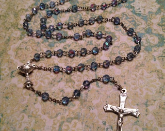 AB Light Blue Glass Rosary