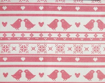 scandinavian fabric - love birds fabric - Christmas fabric - 100% Cotton fabric - Quilting fabric - Christmas material - scandi - red fabric