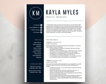 blue resume template for word 2 page resume cover letter icon set - Pages Resume Templates Mac
