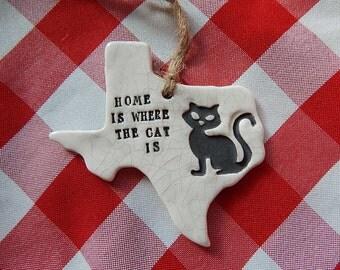 Texas Cat Ornament, Crazy Cat Lady, Texas Home Ornament, Christmas Ornament