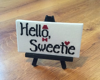 Hello Sweetie - Doctor Who - Completed Cross Stitch