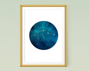 Aquarius art, Zodiac Aquarius print, Printable constellation poster