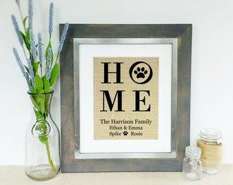 Personalized Pet Name Sign Wall Hanging Housewarming Gift New Home Gift Pet Gifts Dog Unique Dog Gift Pet Art Dog Lover Burlap PRINT ONLY