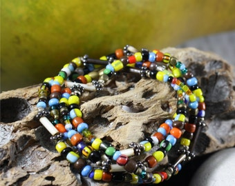 Men's Beaded Bracelet, Africa Trade Beads, Padre Beads, French Bugle Beads, Antique Beads, Bear Mountain Bracelet