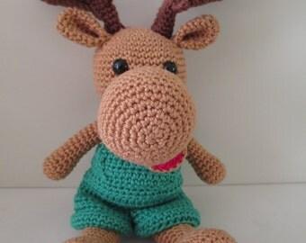 Art the moose - crochet, stuffed animal, toys, baby shower, gift