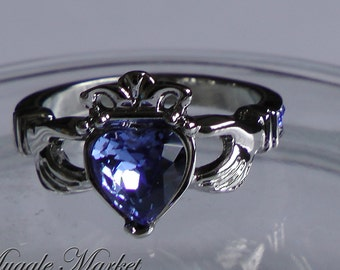 Irish Claddagh ring blue jewel love freindship size 9