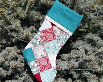Personalized Teal Christmas Stocking, Checkerboard stocking, Custom Stockings