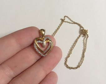Gorgeous Vintage Double Heart Shaped Cubic Zirconia Gold-Tone 925 Sterling Silver Pendant Necklace
