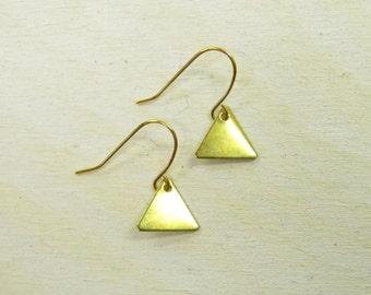 Gold colored triangle earrings, drop earrings, dangle earrings, geometric jewelry, brass pendants, dainty delicate simple boho, handmade