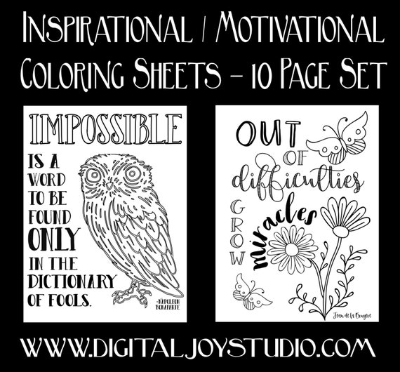 Motivational Printable Coloring Book Inspirational Quotes