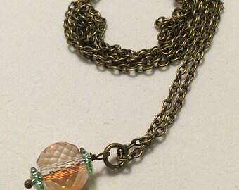 Single Iridescent Bead Necklace