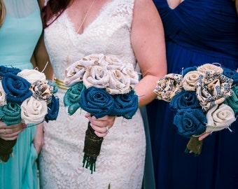 Burlap bouquet for bride or bridesmaid