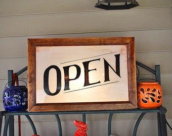 Traditional Custom Light Box Open Sign