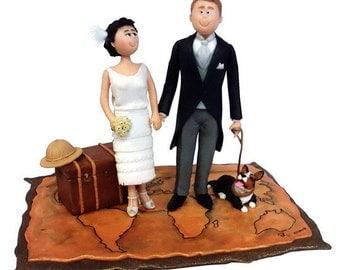 Wedding Cake Toppers, Custom Wedding Cake Topper, Customized Travel Theme Wedding Cake Topper