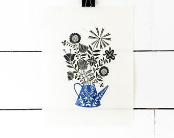 Flower Art Print, Floral Print, Scandinavian Print, Lino Print, Linocut Print, Block Print Art, Blue Art Print, Wildflower Print, Folk Art
