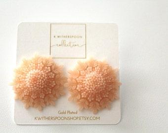 Large Resin Peach Chrysanthemum Stud Earrings Gold Plated