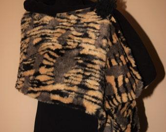 Faux Fur Wrap Stole Tiger animal print is Versatile & Reversible!