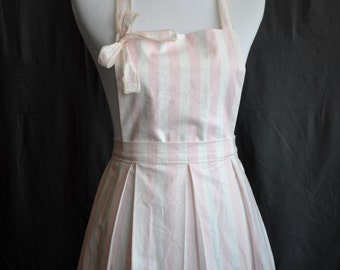 sweet and flirty full kitchen apron with pink stripes and box pleats stain resistant