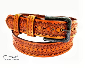 WESTERN STYLE BELT - #001 // Western style leather belt // Brown Leather Belt // Decorated belt // Basket stamping // Leathercraft //