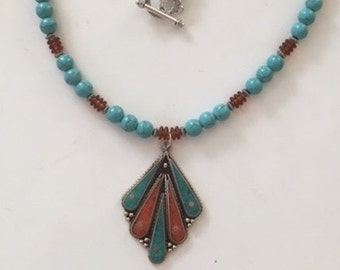 Tibetan focal with stabilized turquoise necklace