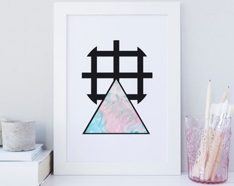 Triangle print, watercolor Print, Pattern print, marble print, Abstract holographic like print, powder blue art, printable wall art, modern