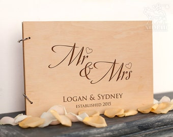 Custom Wedding Guest Book, Wood Rustic wedding guest book, Just Married Book, Mr and Mrs, Custom guestbook, Custom Album, Wedding Decoration