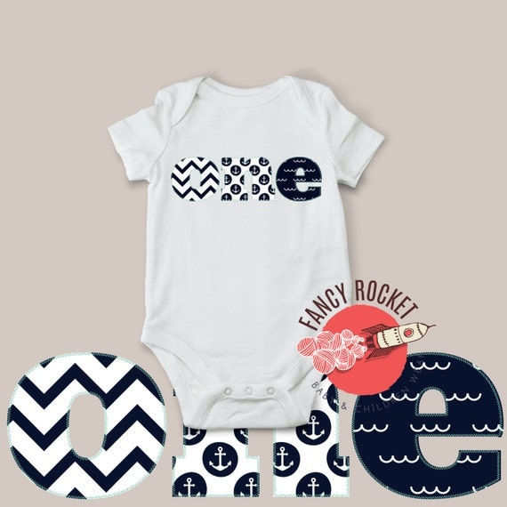 One Birthday Shirt One Year Old Boys 12 Months White Navy