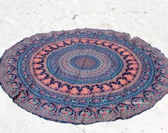 Roundie / Round fabric- Beach, Yoga, Dorm, College- Elephant Tapestry Mandala Bohemian Boho Fabric