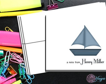 Personalized Boy nautical Stationery / Custom boat Stationery / Nautical Stationery Set / baby Stationery / Set of 12 boy thank you cards