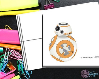 Star Wars bb8 Thank You Cards / starwars stationery / bb8 Stationery Set / personalized thank you cards / Set of 12