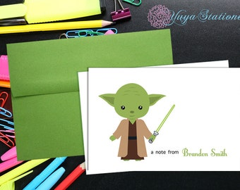 Personalized Yoda Stationery / Custom Star Wars Stationery / Star Wars Stationery Set / Custom Boy Stationery / Set of 12