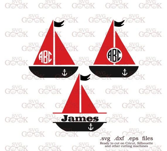 sailboat svg cut files sail boat monogram frame svg cut files