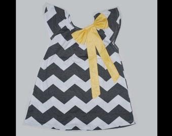 Grey chevron yellow bow girl toddler dress