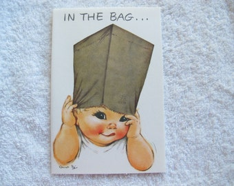 Charlot Byj In the Bag Birthday card / paper bag baby birthday card / 1940's small talk get well card