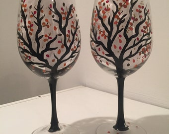 Set of 2 Hand Painted Wine Glasses, Trees with Colorful Fall Leaves, Branches, Black Stem