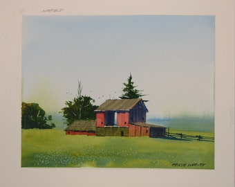 Barn watercolor painting, barn painting, landscape watercolor, original watercolor painting, farm, field, #32