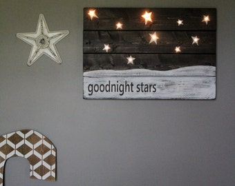 Goodnight Moon Lighted Nursery Sign Hand Painted Stained Wooden Sign Rustic Distressed Wall Hanging Nightlight Kids Room Toddler Room Decor