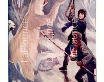 Vintage Book Page - Arctic - Polar Bear - Digital Download