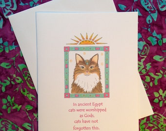 Egyptian Cat  Greeting Card  - Any Occasion - Blank Card