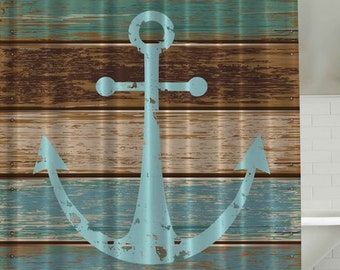 """Rustic Wooden Plank Nautical Boat Ship Anchor Distressed Wood Look Boating Coastal Vacation Home 70"""" Fabric Bathroom Shower Curtain New"""