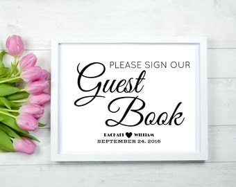 Wedding Guest Book Sign In A Stylish Elegant Font For Your DIY Wedding