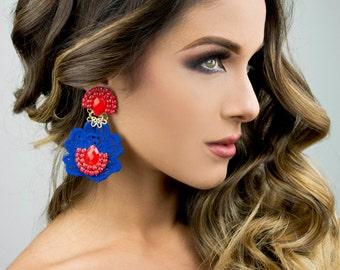 Blue Statement Earrings, Flower earrings, Trendy Earrings, Funky Earrings, Neon Jewelry, Lace Earrings, Bohemian Jewelry, Big Earrings,